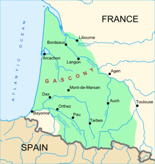 Map of the historical and cultural area of Gascony.