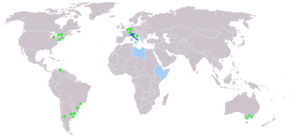 The geographic distribution of the Italian language in the World: in green are signed large Italian-speaking communities; in light blue are painted the former Italian colonies, where Italian was taught and spoken until their independence, and it is understood to some extent today.