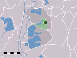 The town centre (darkgreen) and the statistical district (lightgreen) of Kortenhoef in the municipality of Wijdemeren.