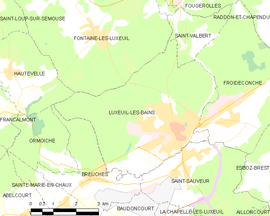 Mapa obce Luxeuil-les-Bains