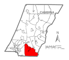 Map of Adams Township, Cambria County, Pennsylvania Highlighted.png