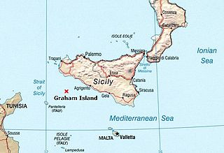 A submerged volcanic island south of Sicily