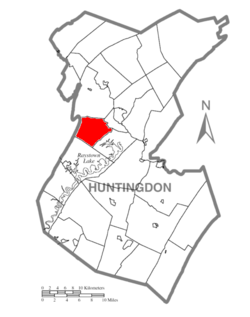 Map of Huntingdon County, Pennsylvania Highlighting Walker Township