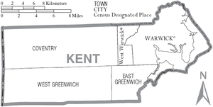 Kent County, Rhode Island - Map of Kent County, Rhode Island showing cities, towns, and CDPs