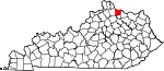 State map highlighting Bracken County