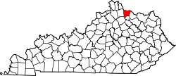 map of Kentucky highlighting Bracken County