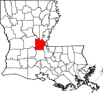 State map highlighting Avoyelles Parish
