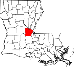 Harta e Avoyelles Parish në Louisiana