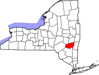 Map of New York highlighting Greene County