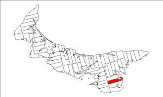 Lot 61, Prince Edward Island - Image: Map of Prince Edward Island highlighting Lot 61
