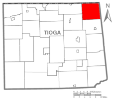 Map of Tioga County Highlighting Jackson Township