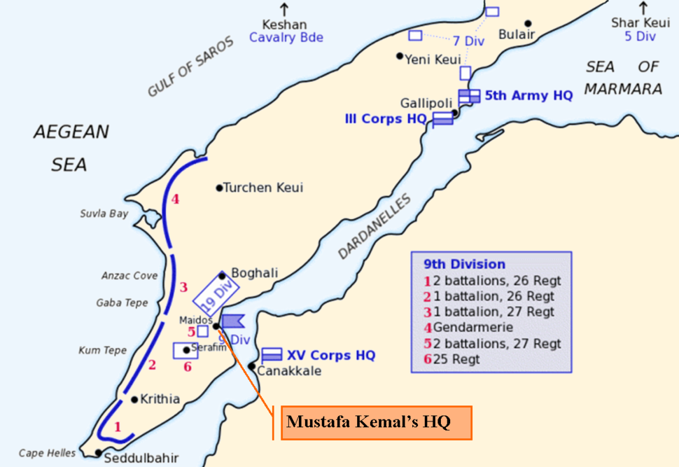 Map of Turkish forces at Gallipoli April 1915 (Kemals-HQ)