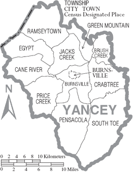 Map of Yancey County North Carolina With Municipal and Township Labels.PNG