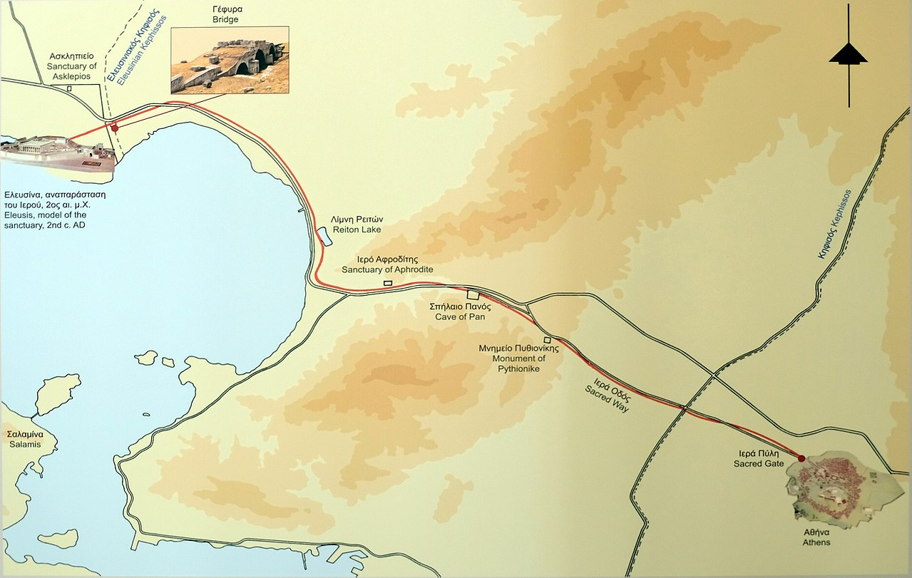 File Map Of Sacred Way From Athens To Eleusis Jpg Wikimedia Commons