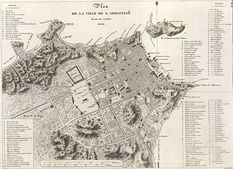Map of the city of Rio de Janeiro in 1820, then capital of the United Kingdom of Portugal, Brazil and the Algarves, with the transfer of the Portuguese court to Brazil Mapa da cidade do Rio de Janeiro.jpg