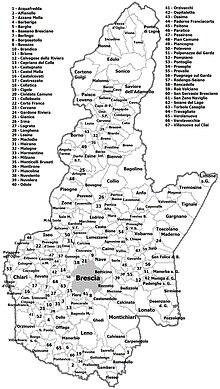 Divisione amministrativa della provincia al 2011