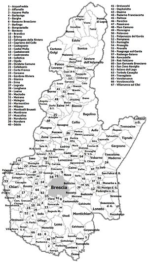 Province of Brescia - Map showing the 205 municipalities of the province of Brescia.
