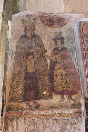 Mariam Dadiani - A 17th-century fresco from the Svetitskhoveli Cathedral in Mtskheta depicting Mariam and her son Otia.