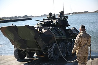 LAV-25 - An LAV-25 conducts swim test at Marine Corps Base Camp Lejeune