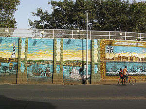 Bombay Dockyard - Mural on the walls of the Naval Dockyard, Mumbai