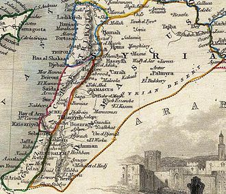Ottoman Syria - 1851 map showing the southern Eyalets of Ottoman Syria —Damascus, Tripoli, Acre and Gaza.