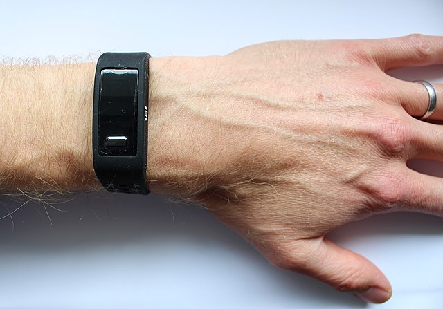 **A wrist-worn device which acquires pulse waves by photoplethysmography.** _Source: PH Charlton, [Max-Health-Band](https://commons.wikimedia.org/wiki/Category:Files_by_Peter_H_Charlton#/media/File:Max_Health_Band.jpg), Wikimedia Commons ([CC BY 4.0](https://creativecommons.org/licenses/by/4.0/))._