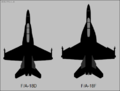 McDonnell Douglas FA-18D and Boeing FA-18F top-view silhouette comparison.png