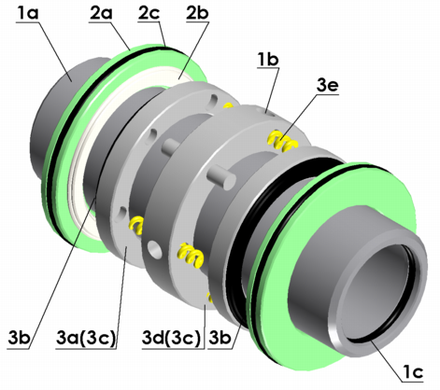 A CAD model of a mechanical double seal Mech 2 3D.png