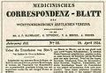 Medizinisches Korrespondenzblatt, 1834 - Georg Klett vollzog die erste erfolgreiche Bluttransfusion auf deutschem Boden.jpg