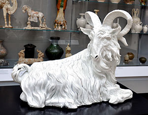 Porcelain figure of a goat, white, modelled by...