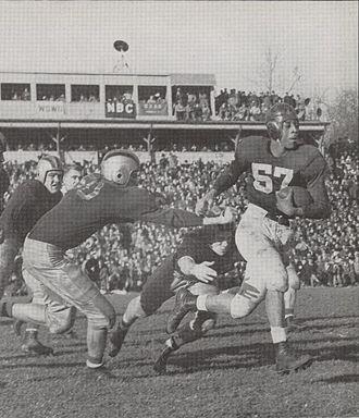 Indiana Hoosiers football - George Taliaferro running with ball against Purdue in 1945