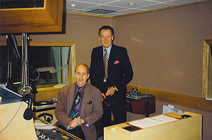 Melody 105.4 FM - Breakfast presenter Bill Bingham (seated) with Melody Radio owner Lord Hanson on launch day