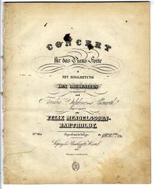 Titelseite von Felix Mendelssohn Bartholdys Klavierkonzert Nr. 1 mit Widmung an Delphine von Schauroth (Quelle: Wikimedia)