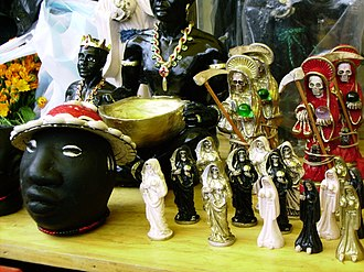 Mercado de Sonora - Items related to Santa Muerte and others.