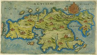 Lesbos - Map of Lesbos by Giacomo Franco (1597).