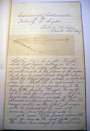 Albert A. Michelson - Page one of Michelson's Experimental Determination of the Velocity of Light