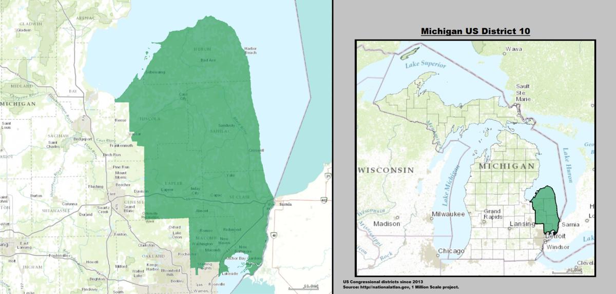 Michigans Th Congressional District Wikipedia - Lake michigan us map