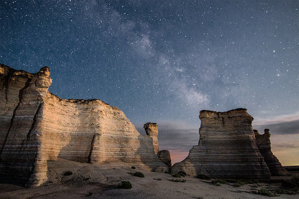 Milky Way over Monument Rocks, Kansas, USA