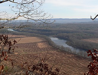 Minisink - Minisink Island's north end (center) seen from the Delaware Water Gap National Recreation Area's Cliff Trail in Pennsylvania