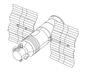 Gamma (satellite) - Drawing of the Gamma space telescope satellite. The spaceframe and subsystems of the satellite were based on the Progress spacecraft.