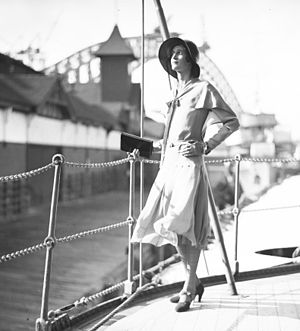 1930 in Australia - Designer and socialite Hera Roberts on the deck of the HNLMS JAVA, Sydney Harbour, 1930