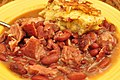 Mmm... red beans and cured ham hocks with cheddar bacon cornbread (7317187390).jpg