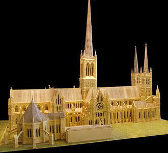 Lincoln Cathedral - Model within the cathedral illustrating the cathedral's former spires