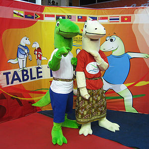 2011 Southeast Asian Games - Modo and Modi mascots at one of the SEA Games venue.