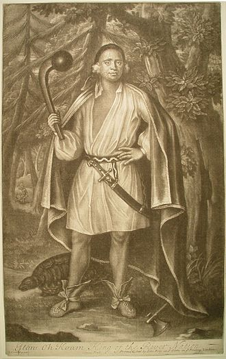 Mahican - The Mahican chief Etow Oh Koam, referred to as one of the Four Mohawk Kings in a state visit to Queen Anne in 1710. By John Simon, c1750.