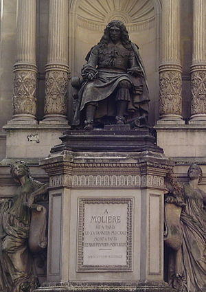 Statue of Molière at the corner of Rue de Rich...