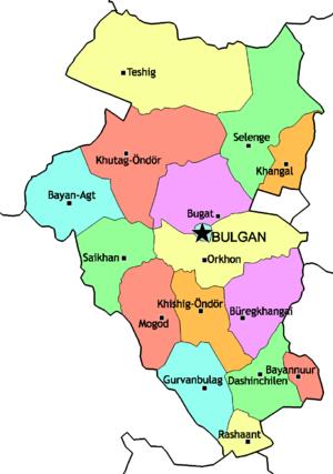 Bulgan Province - Sums of Bulgan