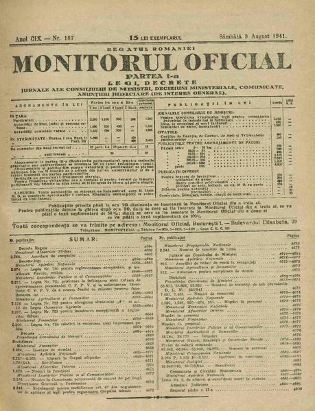 File:Monitorul Oficial al României. Partea 1 1941-08-09, nr. 187.pdf