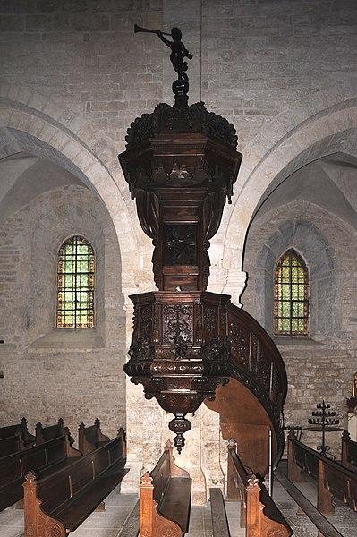Church pulpit; Montbenoît, France.