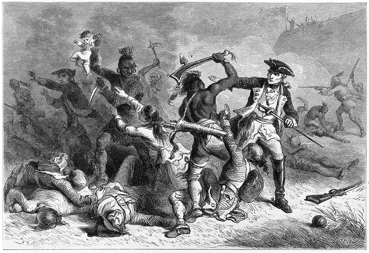 Montcalm is depicted wearing a uniform and three-cornered hat, facing an Indian who has raised a tomahawk over his head, as if to strike at Montcalm, while stepping over a wounded soldier. Bodies lie about, and an Indian is seen holding a white baby away from a woman who is trying to reach for it.
